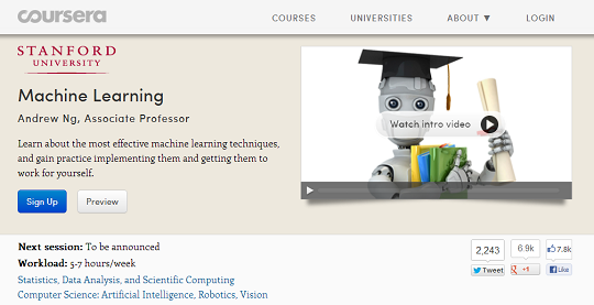 coursera stanford machine learning