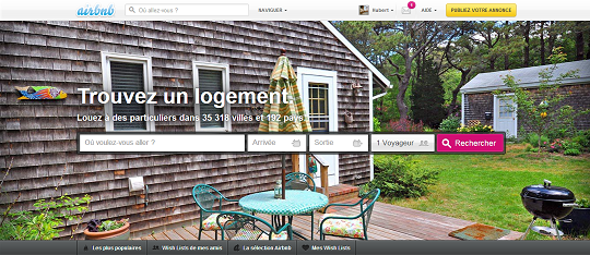 Page d'accueil d'AirBnb