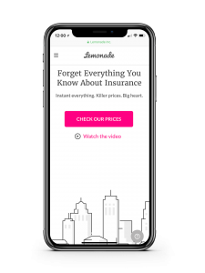 L'interface de Lemonade, l'assureur chatbot