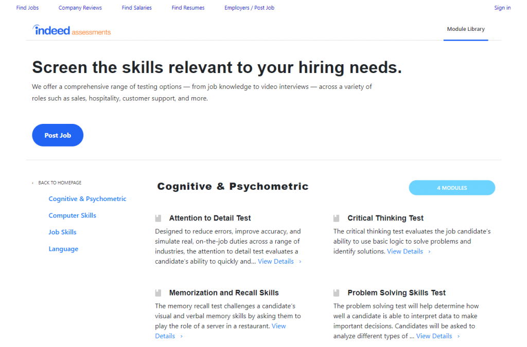 Les modules de tests pour employeurs disponibles sur Indeed