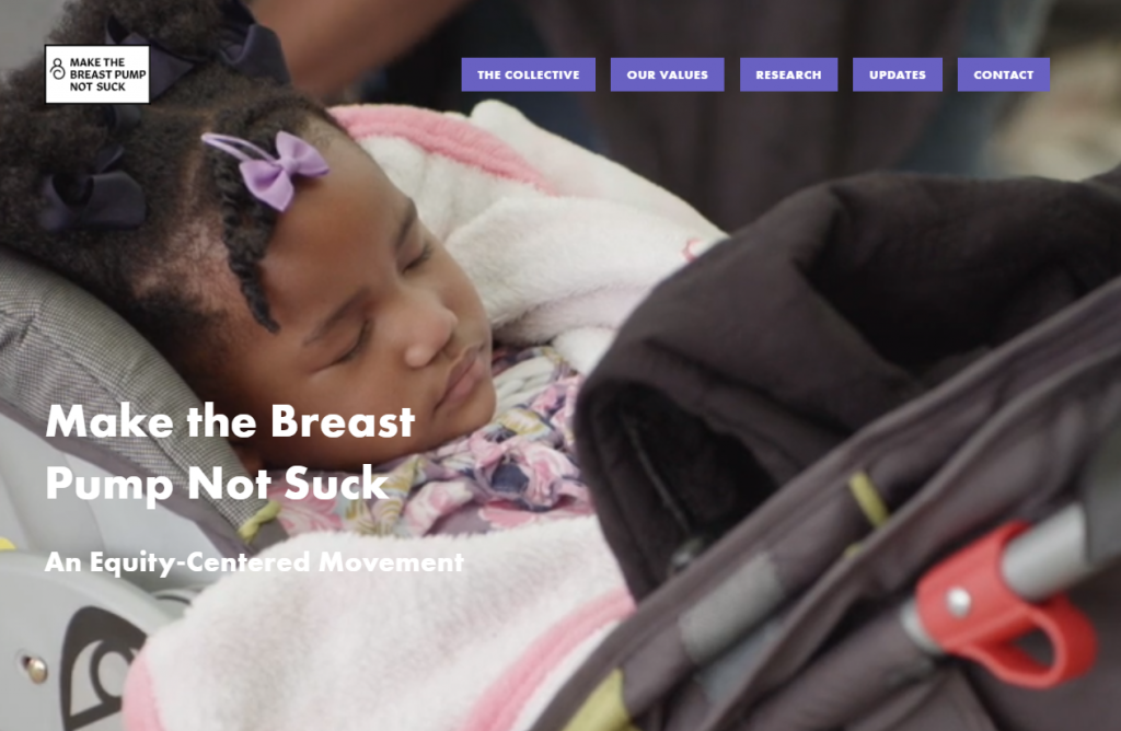 Page d'accueil du site Make the Breast Pump Not Suck